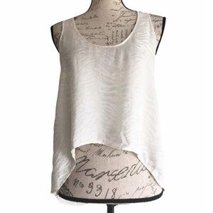 Joie Ivory Textured Hi-Lo Cropped Sleeveless Top S